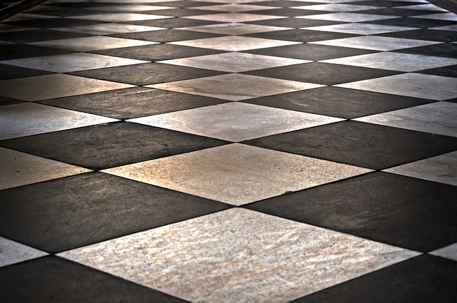 Close-up of a linoleum floor in shadow