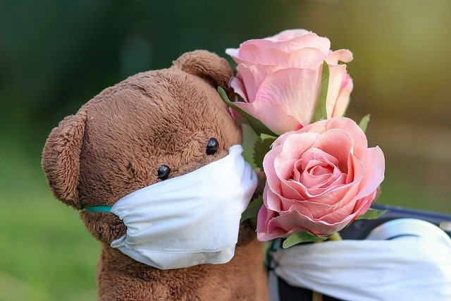 A brown teddy bear with a mask holds pink followers