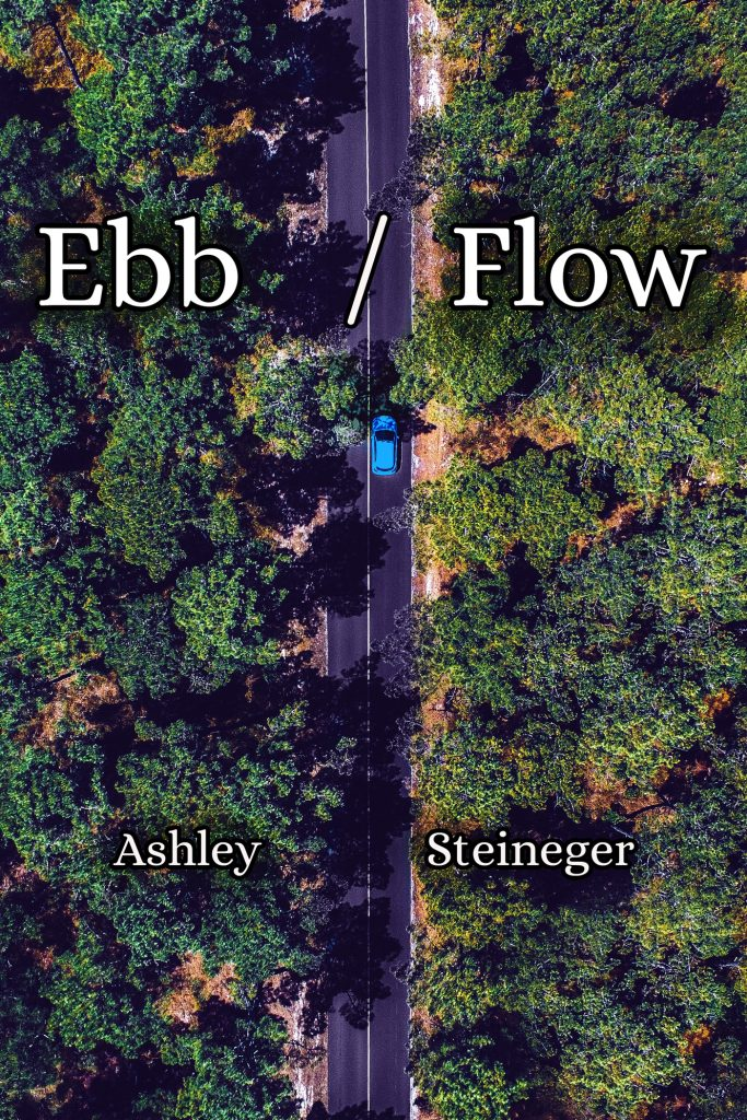 "Cover: A bright green forest split by a two lane highway. A single blue car is in the road. White text at the top says ""Ebb/Flow"" with author name ""Ashley Steineger"" below it."