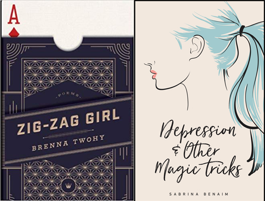 Book covers for Depression & Other Magic Tricks and Zig-Zag Girl