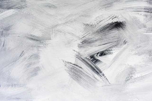 A painting with harsh white and black brush strokes, like a snowstorm